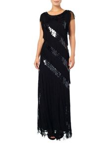Phase Eight Annabeth fringed sequin maxi dress