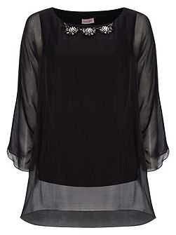 Rosa silk beaded blouse