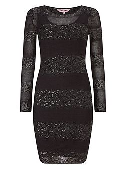 Abril stripe sequin panel dress