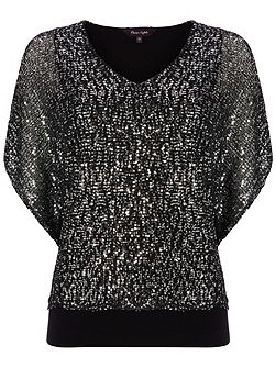 Antonella sequin double layer knit top