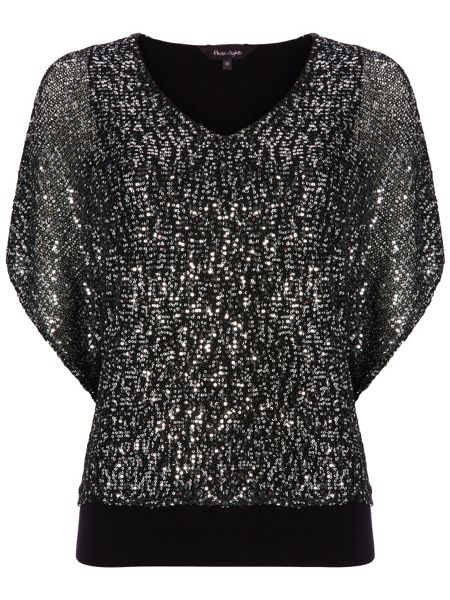 Phase Eight Antonella sequin double layer knit top