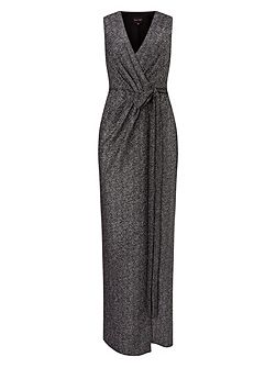Kylie metallic wrap dress