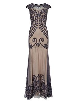 Perseus lace applique dress