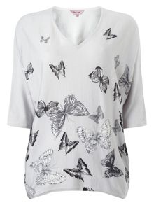 Bendetta butterfly print knitted top