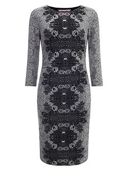 Jaida placement jacquard dress
