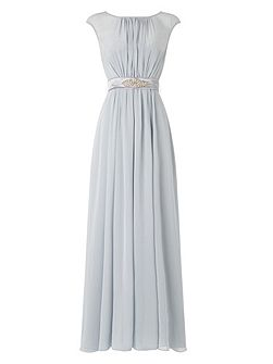 Rowena belted full length dress