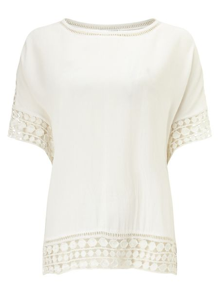 Phase Eight Ele crochet trim crepe blouse