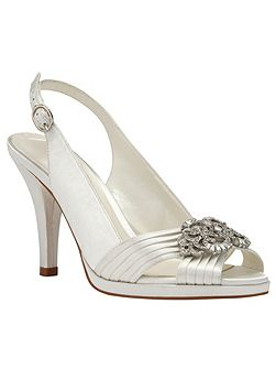 Jewel trim satin peep toe