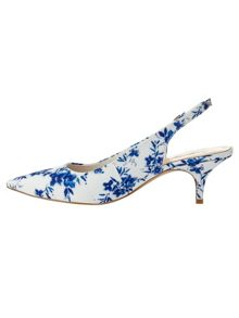 Phase Eight Flower Print Sling Back Kitten Heels