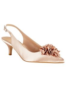 Alana frill satin kitten heel shoes