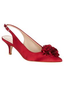 Phase Eight Alana frill satin kitten heel shoes