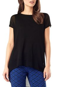 Carson sheer knit woven top