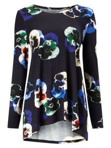 Phase Eight Pansy Print Longline Top
