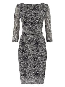 Leaf print lace dress