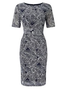 Phase Eight Leaf print lace dress