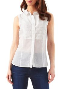 Phase Eight Dahlia Sleeveless Broderie Bib Shirt