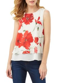 Phase Eight Double Layer Poppy Print Top