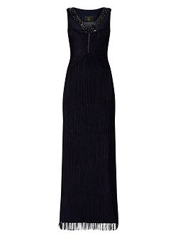 Sable Fringe Full Length Dress