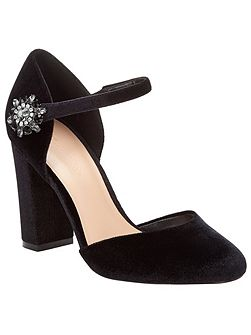 Clara Velvet Block Heel Shoes