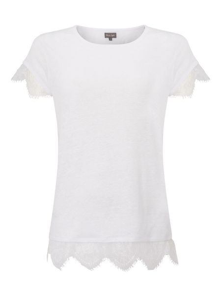 Phase Eight Violett Lace Trim Tee