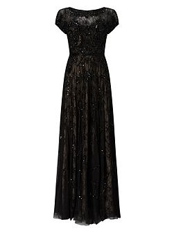 Schubert Lace Beaded Full Length Dress