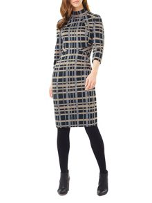 Phase Eight Mia Funnel Neck Check Dress