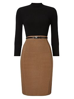 Abbey Belted Colour Block Dress