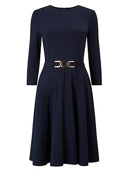 Belted Ponte Swing Dress