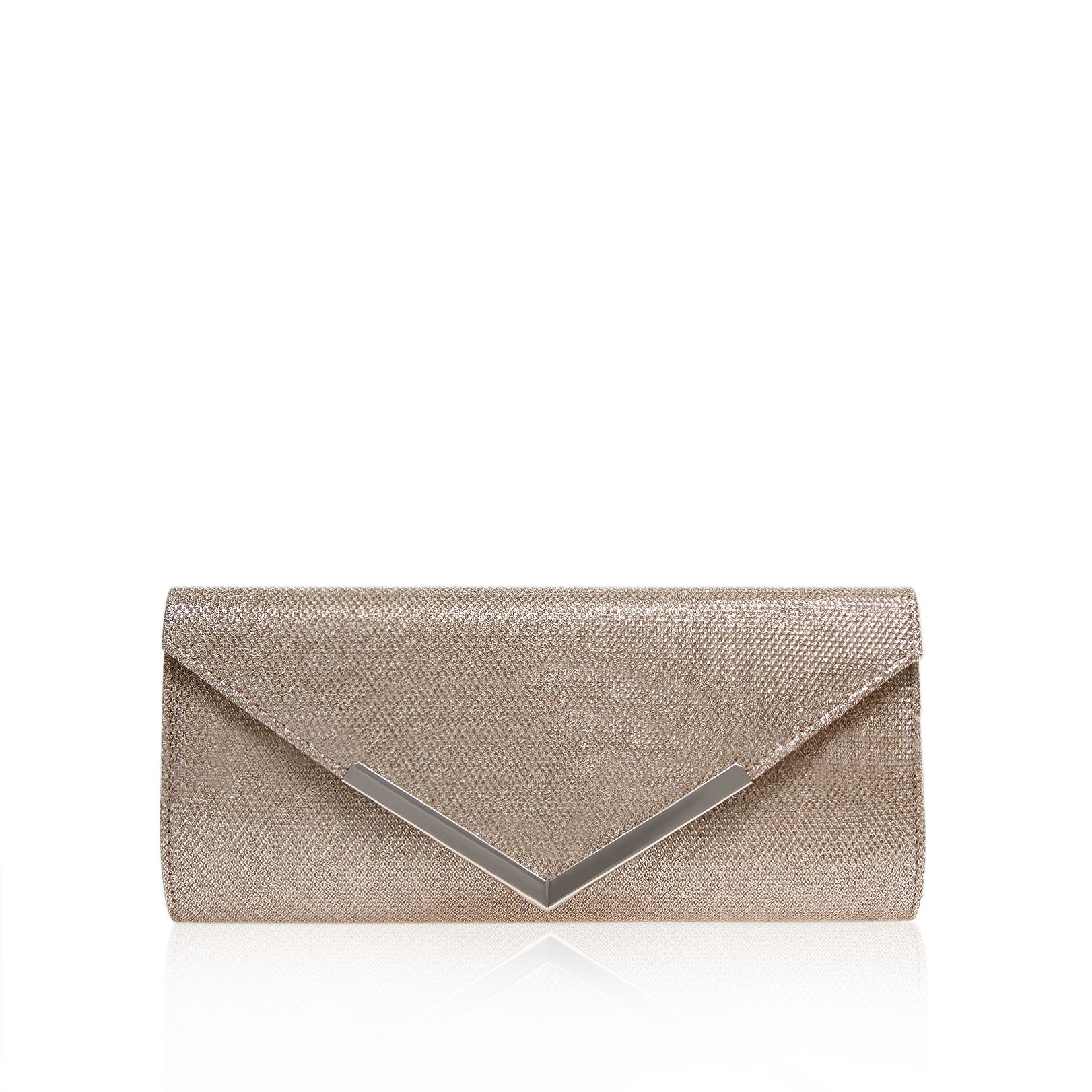Carvela Daphne envelope clutch bag, Silver