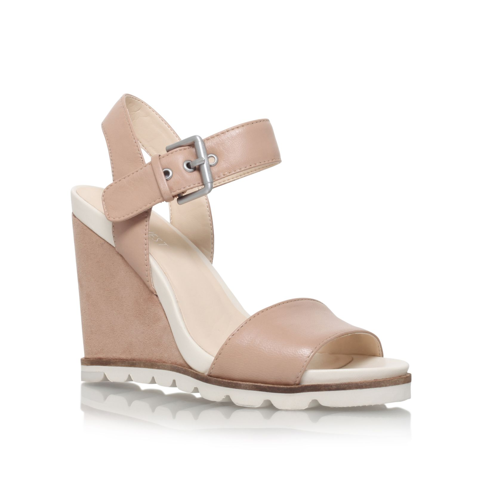 Nine West Nine West Gronigen high heel wedge sandals, Taupe