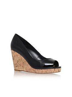Stellar wedge heel peep toe court shoes