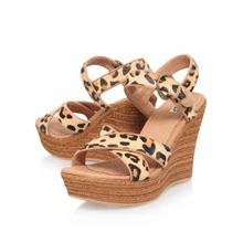 UGG Jazmine calf hair leopard wedge sandals