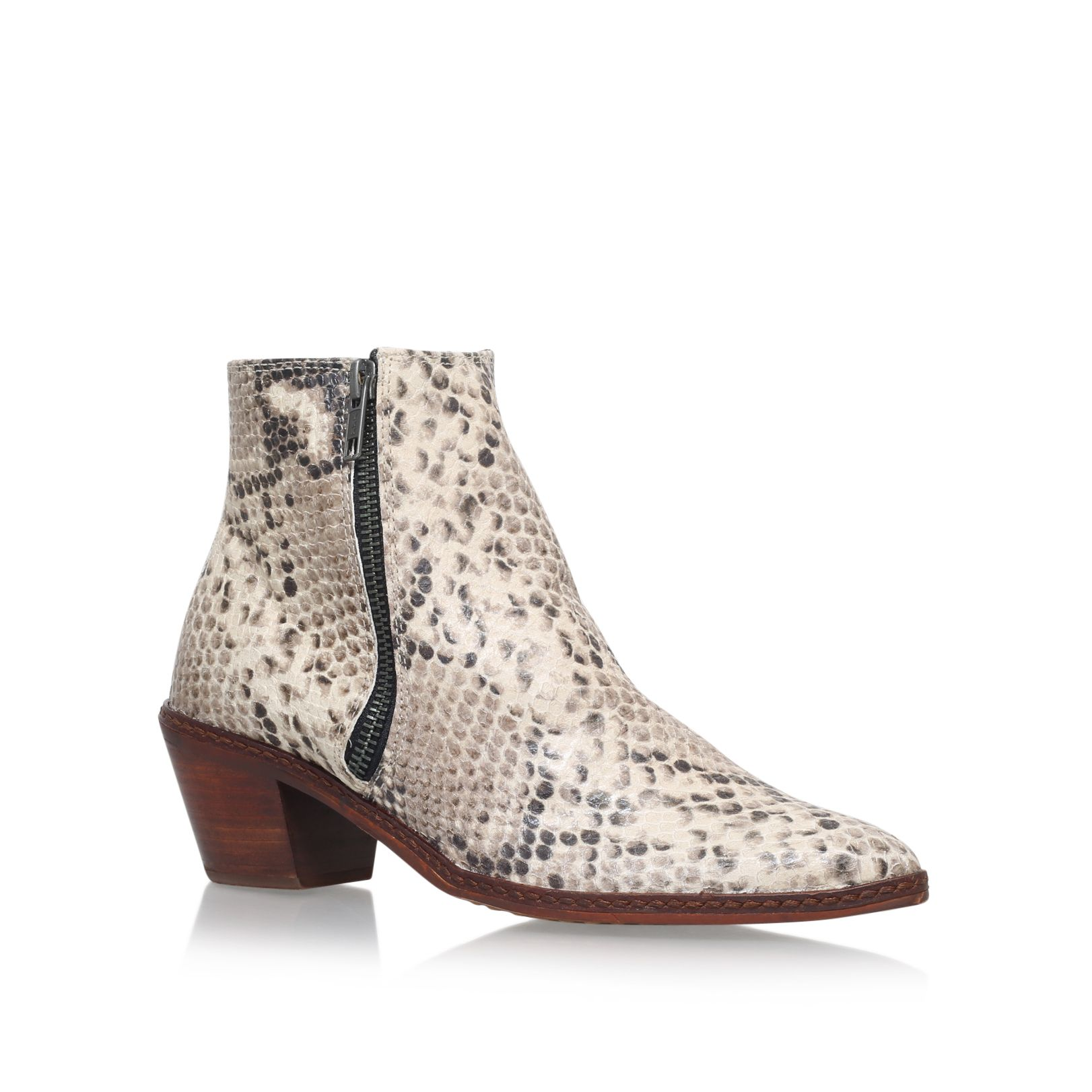 H by Hudson Azi mid block heel ankle boots Beige