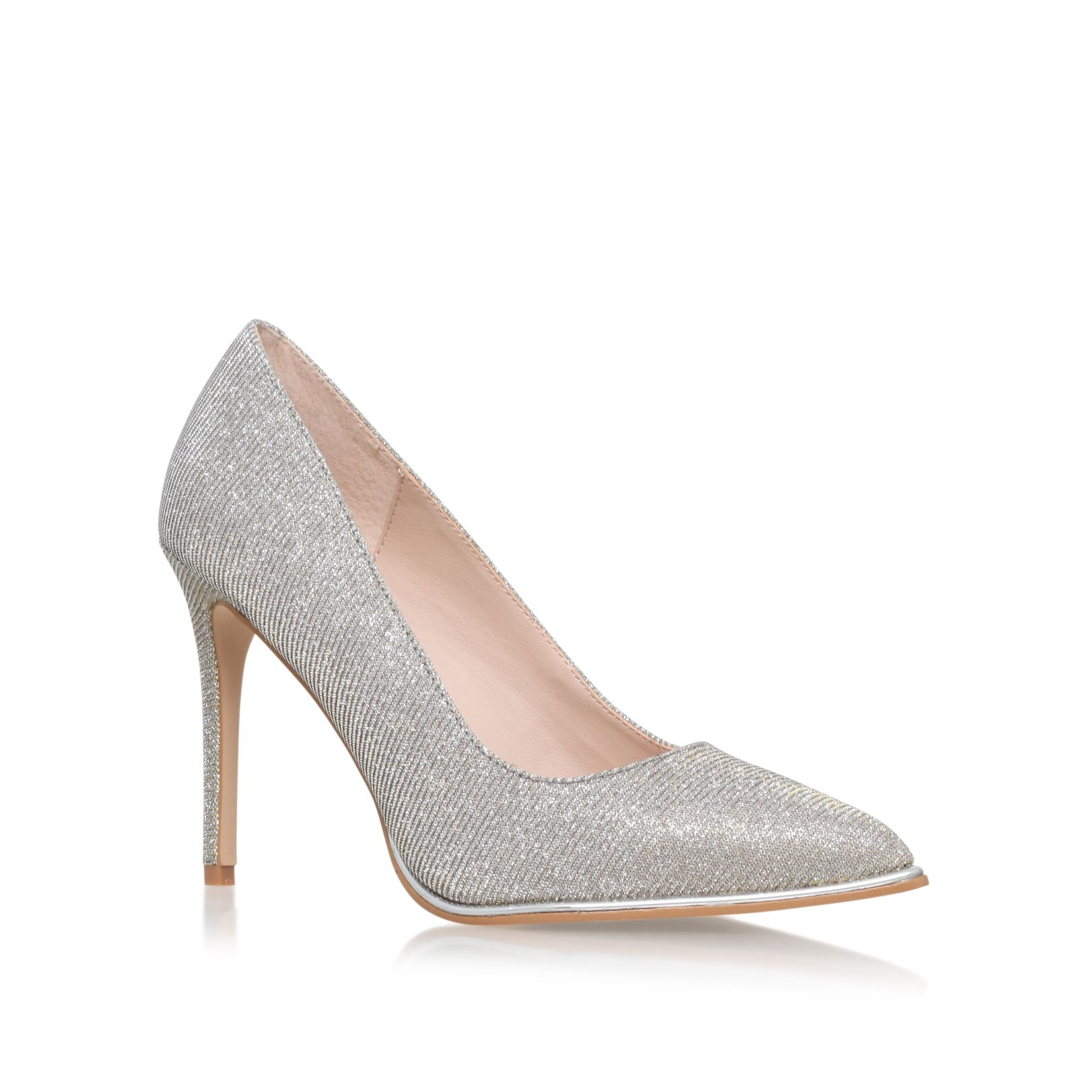 KG Beauty High Heeled Pointed Toe Courts, Silver