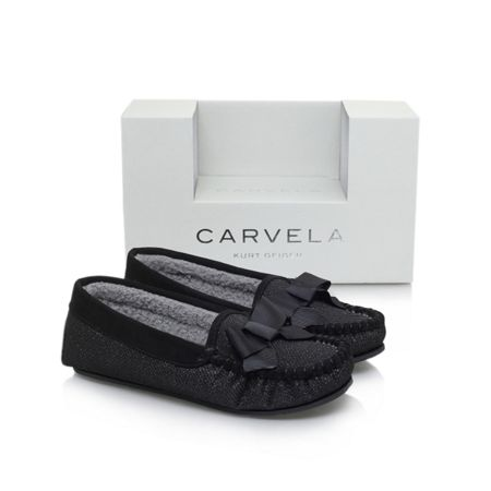 Carvela Lurex bow box slippers