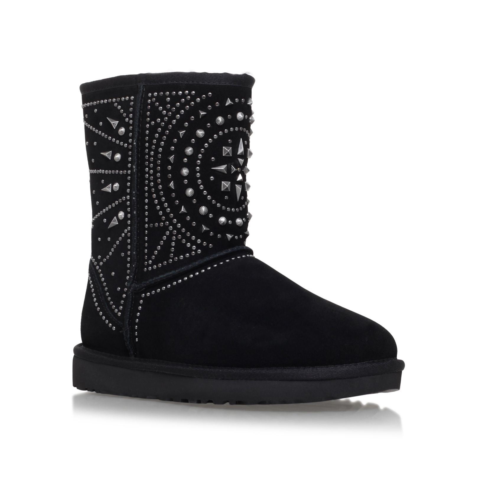 UGG Fiore deco studs flat fur lined boots Black