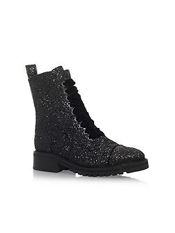 Sparkle low heel lace up ankle boots