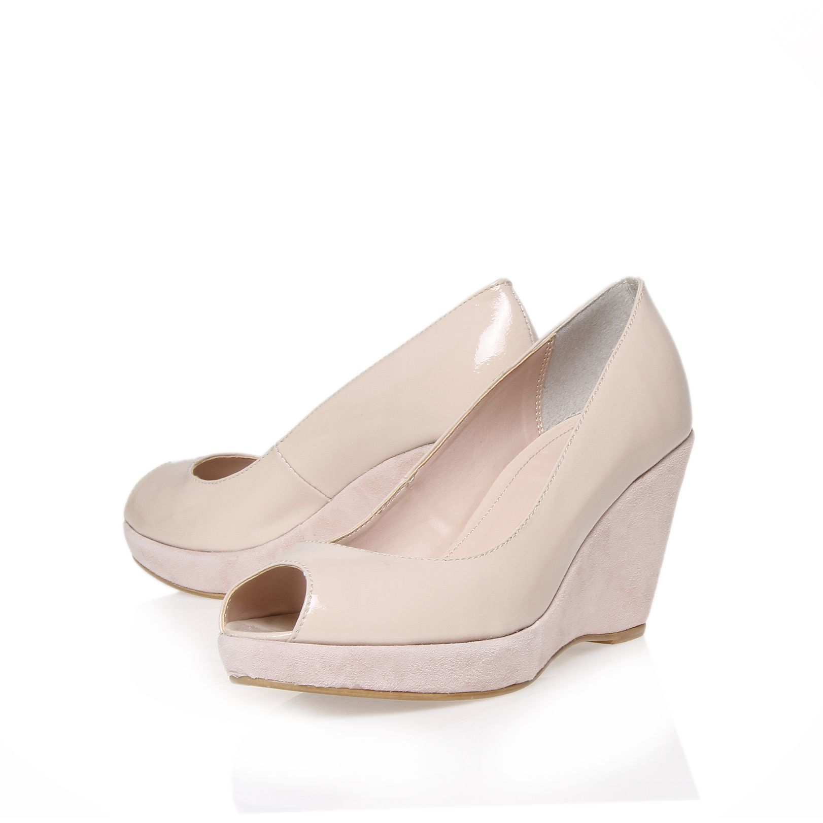 Apricot peep toe wedge shoes