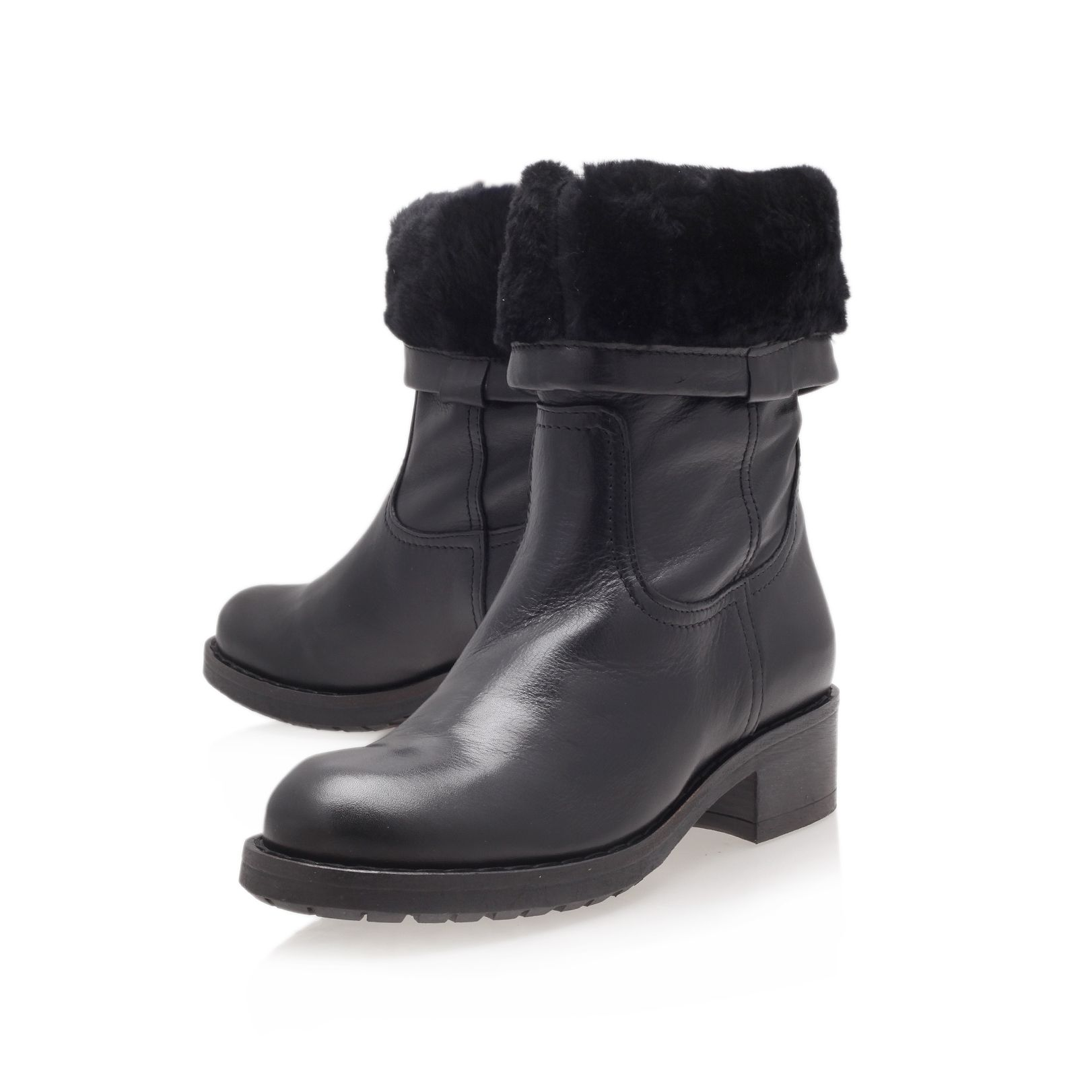 Wide low heel calf boots