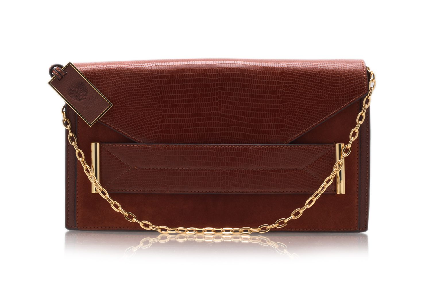 Billy brown envelope clutch bag