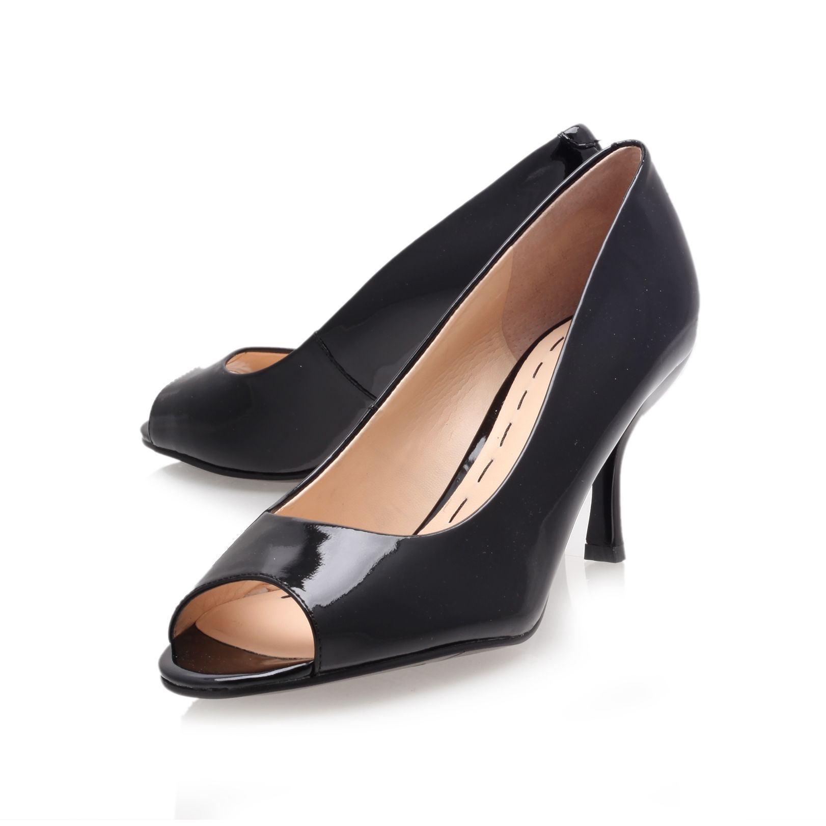 Quinty mid heel peep toe court shoes