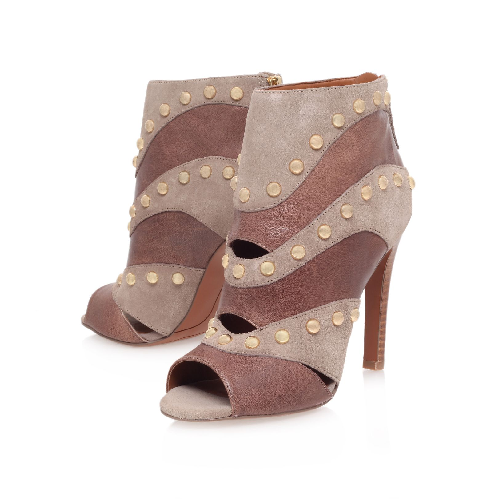 Ezzy high heel studded peep toe ankle boot
