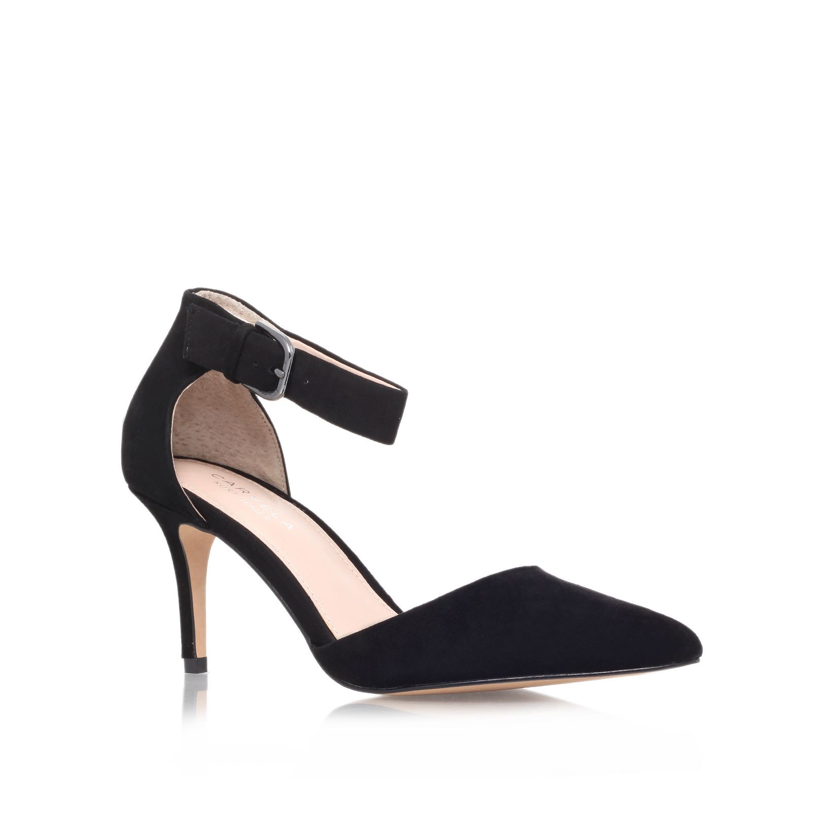 Argue suede pointed mid heel ankle strap court sh