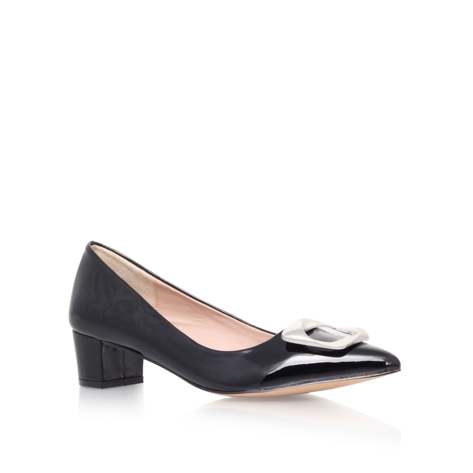 Alpha leather pointed toe block heel court shoes