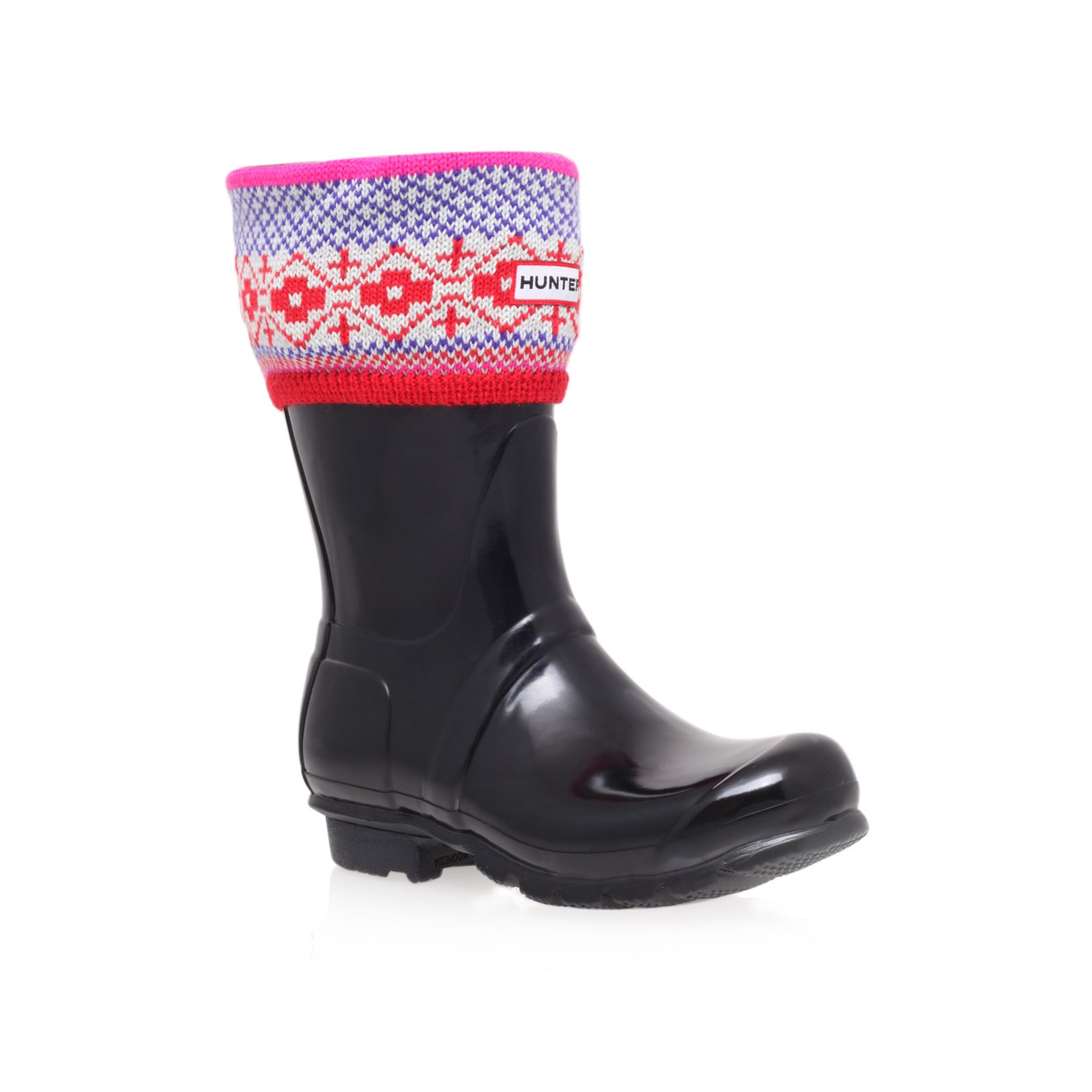Fairisle cuff boot socks