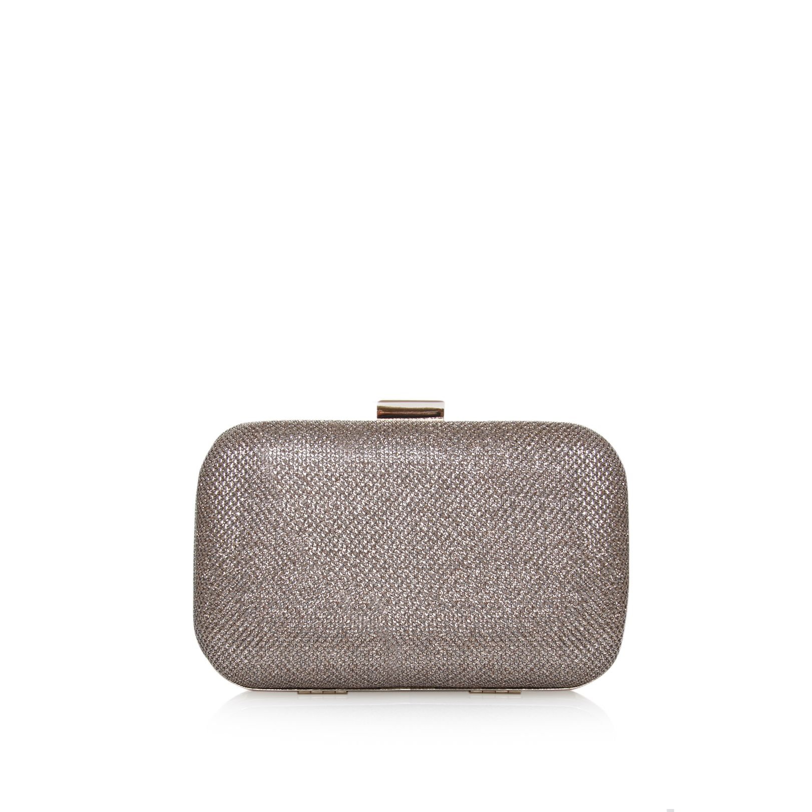Darcy gold box clutch bag