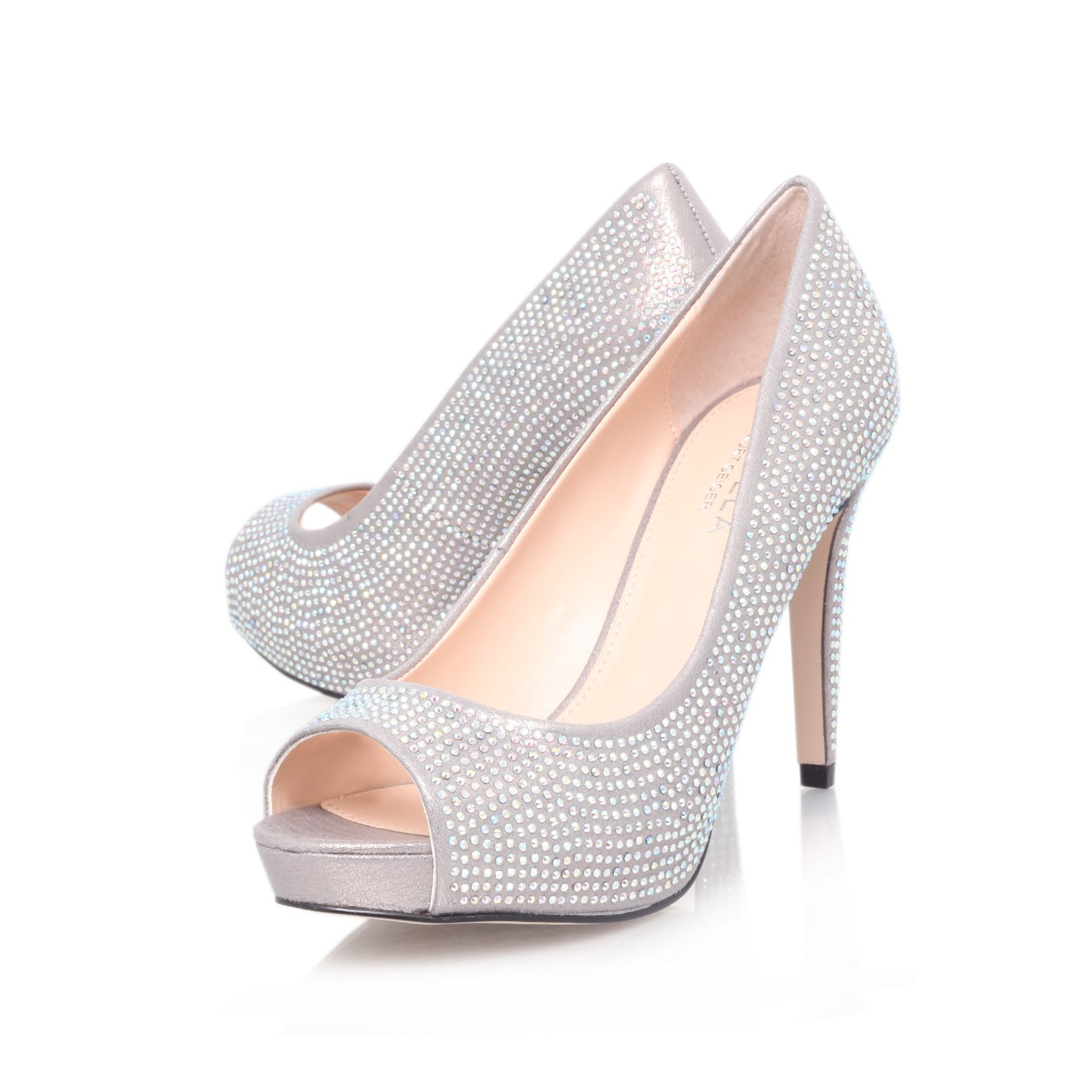 Grind open toe stiletto court shoes