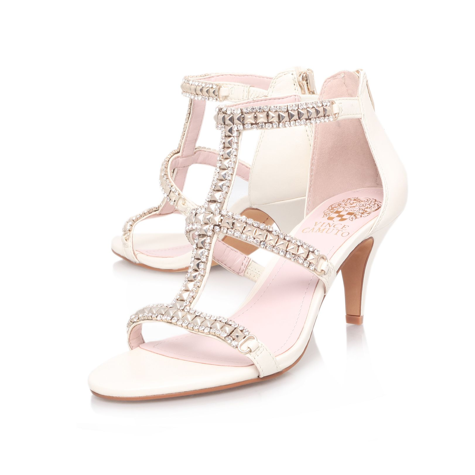 Mauriza leather open toe mid heel sandals