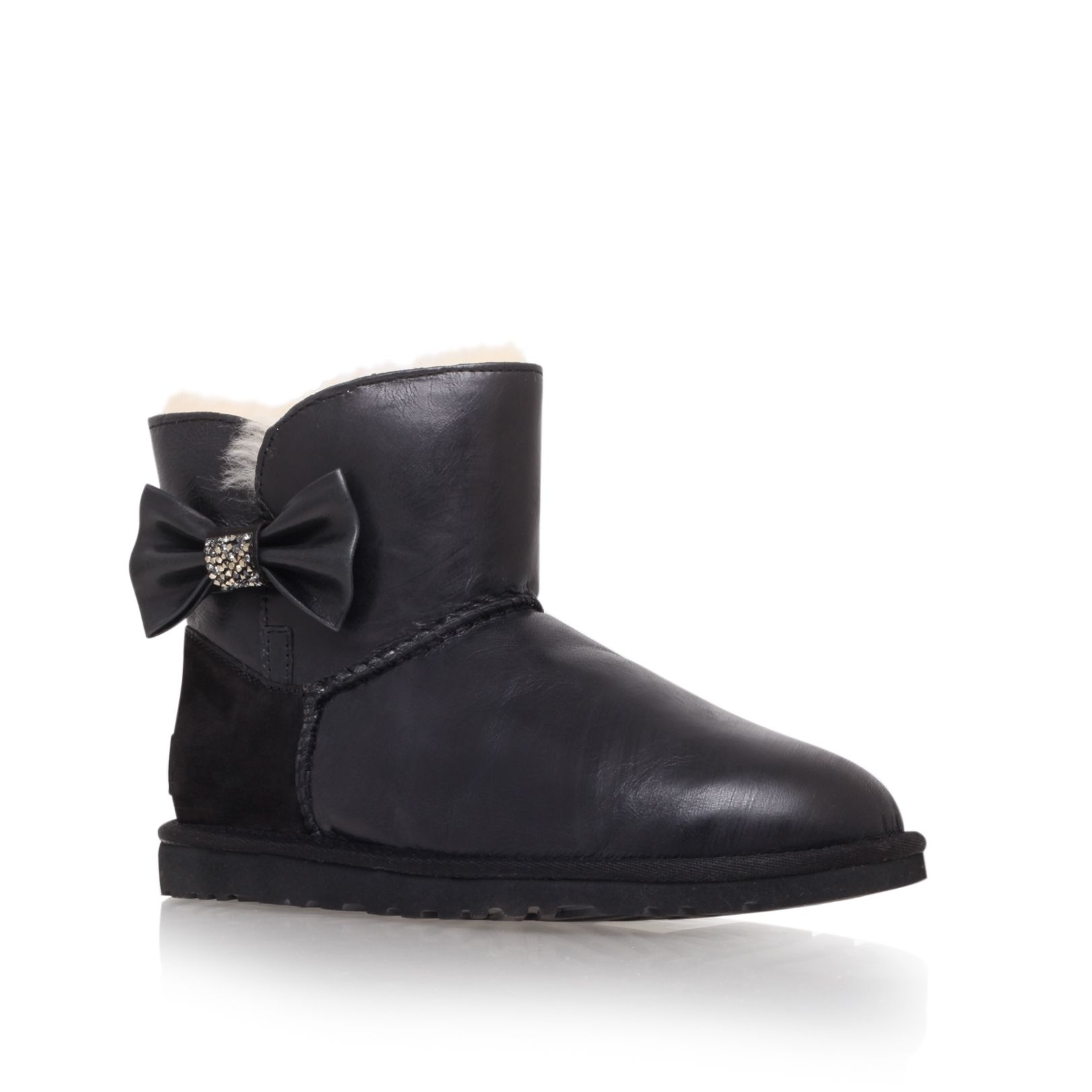 Mini bailey bow flat short ankle boots