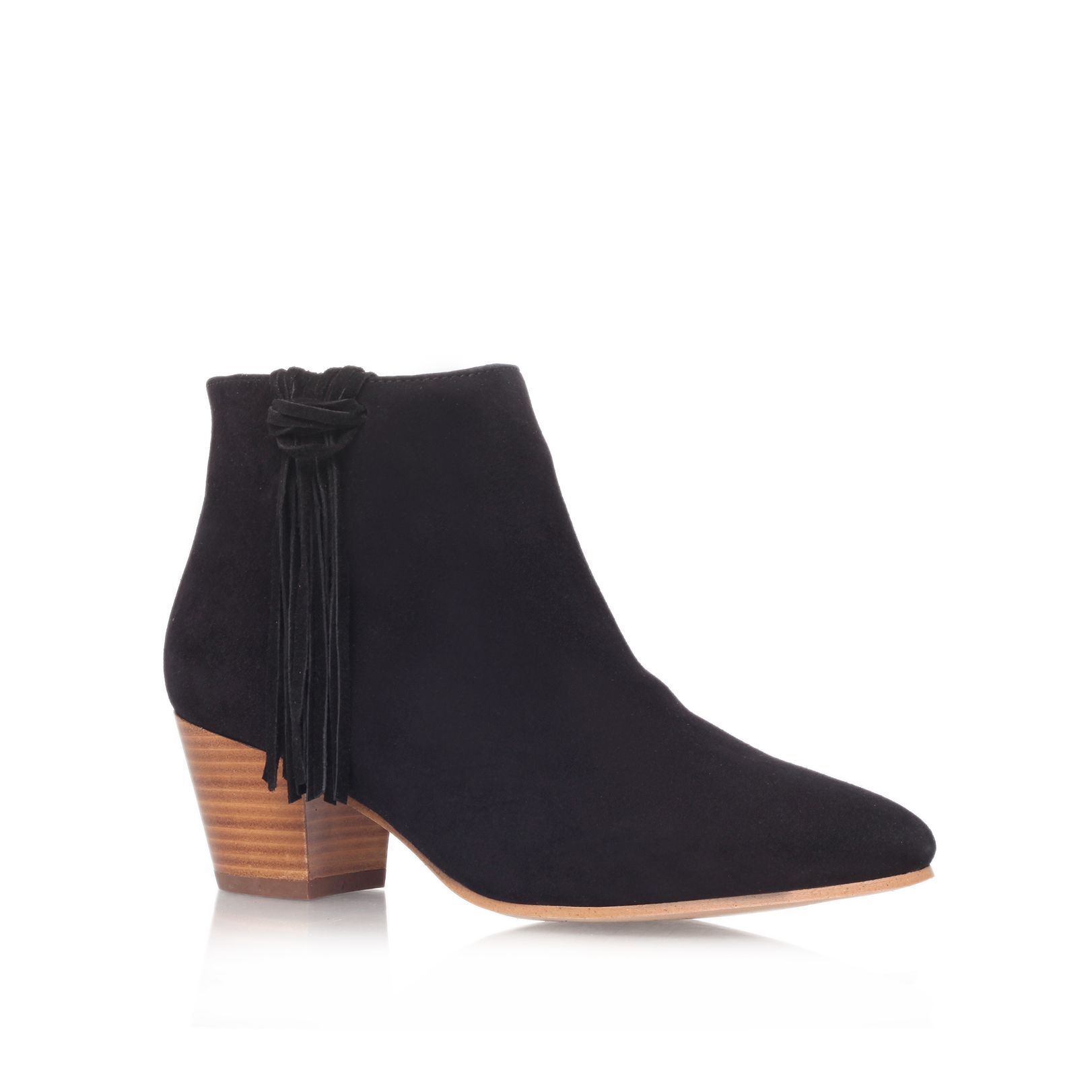 Shimmy leather almond toe block heel ankle boots